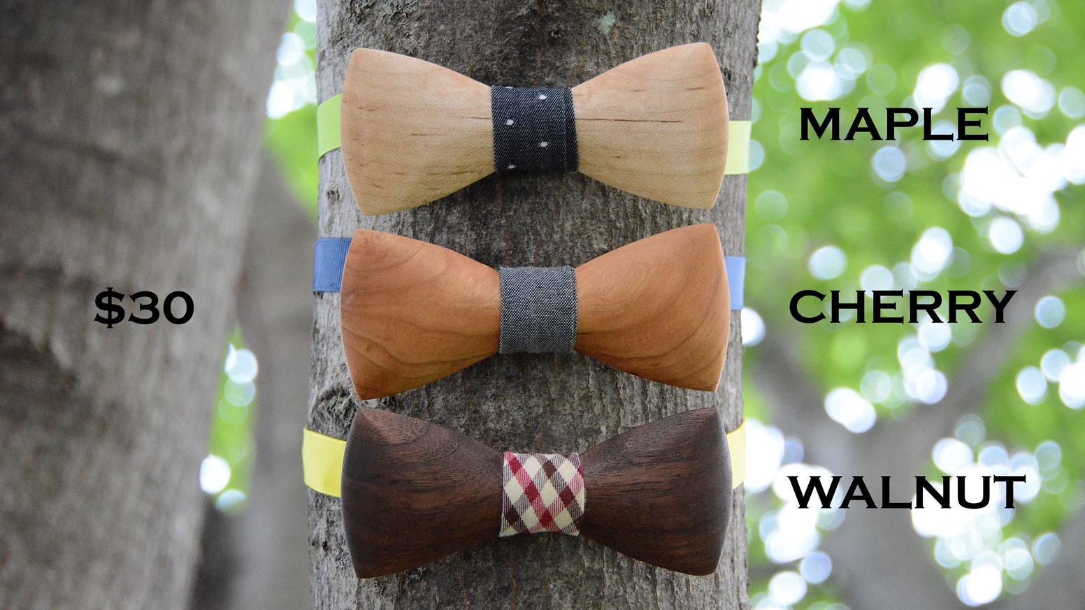 Wooden bow ties crafted out of premium hardwood to be comfortable, stylish, and sustainable.