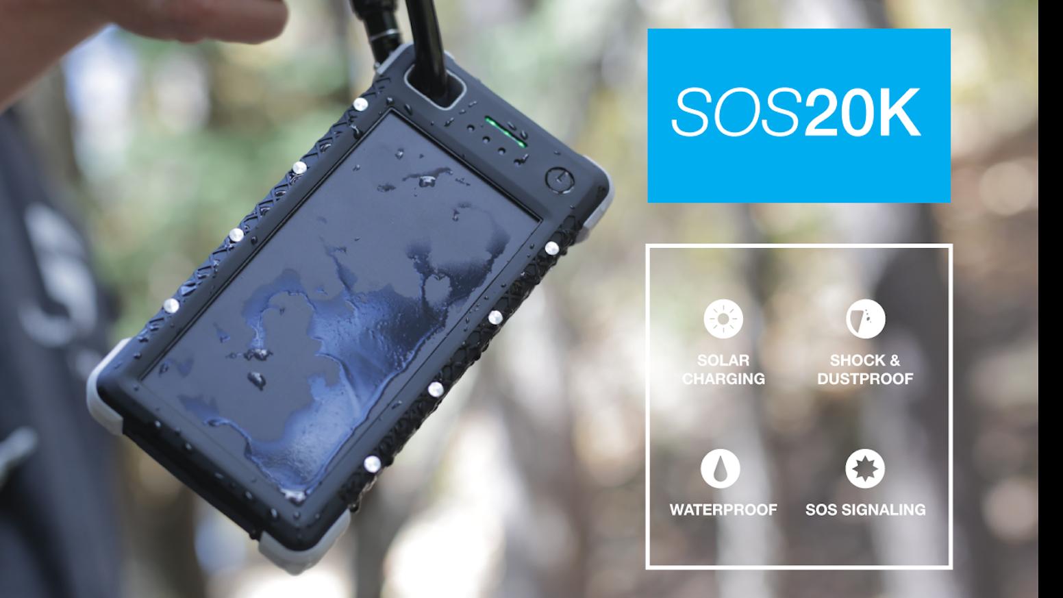 sos 20k life saving portable solar battery by sos powerbank