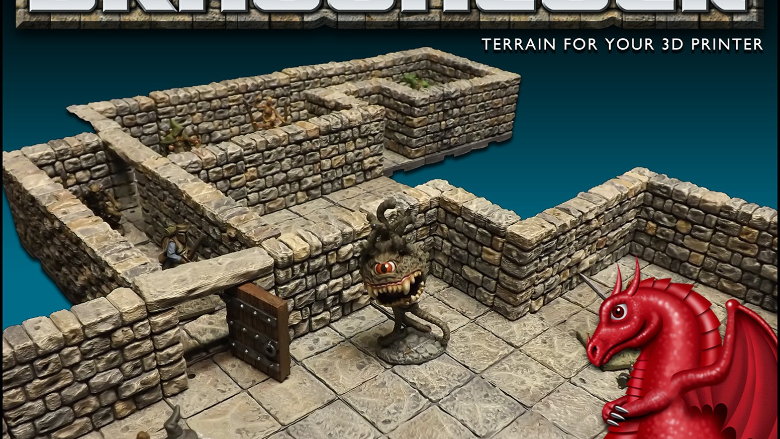 The DRAGONLOCK™ terrain system features dungeon pieces that snap together and can be stacked to create multi-level dungeon designs.