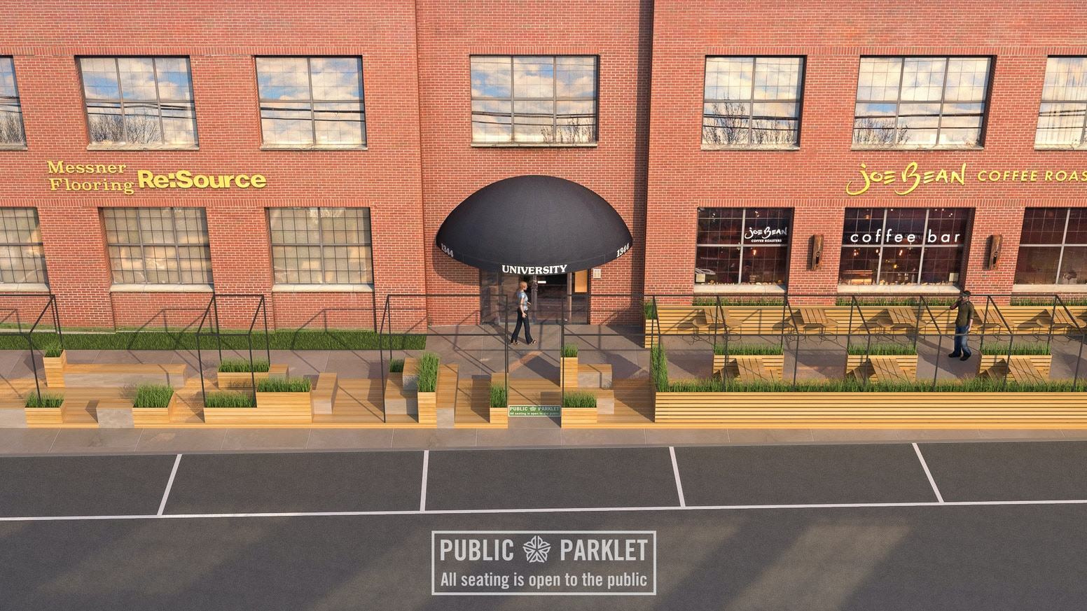 The first ever parklet to be built in Rochester, NY, the beginning of parklets across our city!