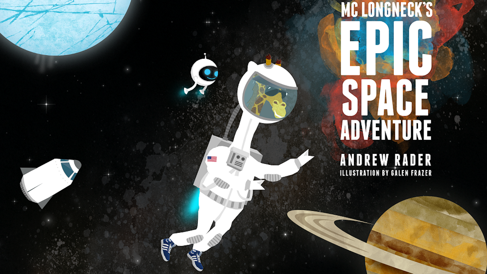 Join Giraffestronaut MC Longneck and robot Sputnik on a journey through the solar system in this educational and exciting book.