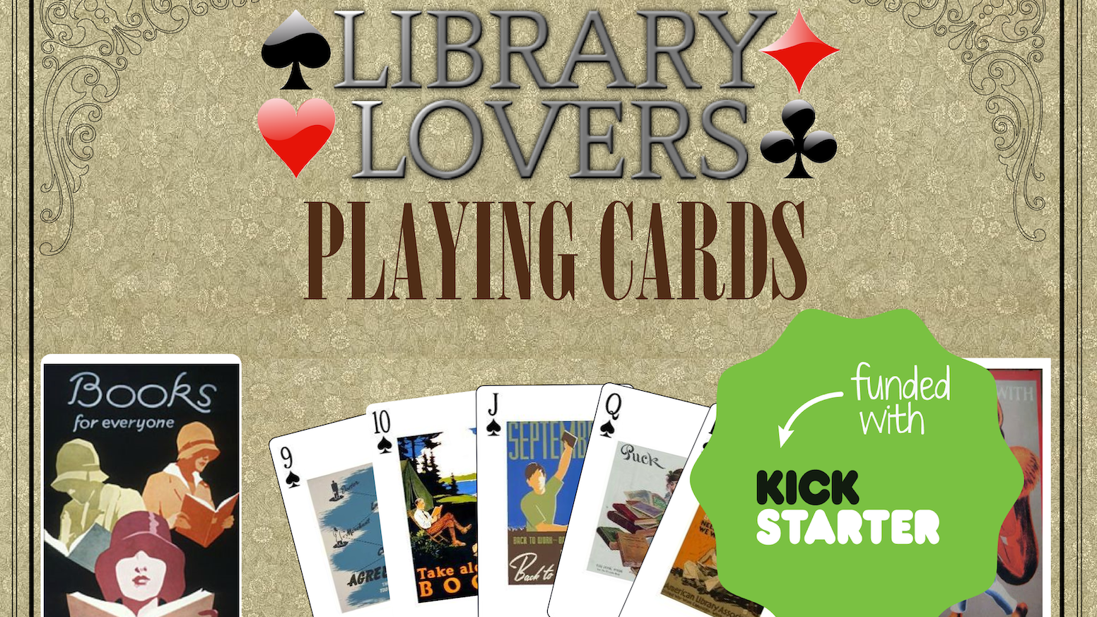 A classic playing card deck illustrated with vintage images used to promote books and libraries in the 1920s, 30s, 40s & 50s.