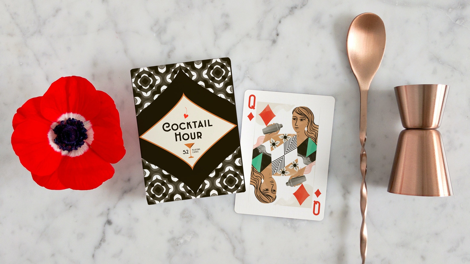 A refreshing twist to the classic playing card deck celebrating the art of the cocktail and modern mixology.Get yours: