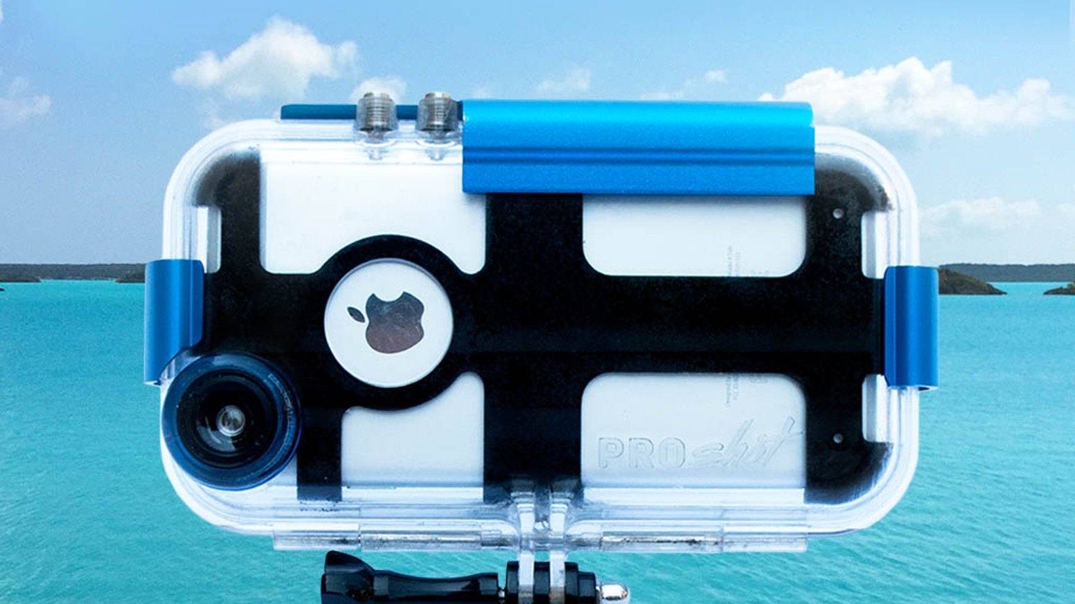 Proshot is a waterproof case that protects your iPhone 6/6s down to 90 feet and can be mounted on almost any surface.