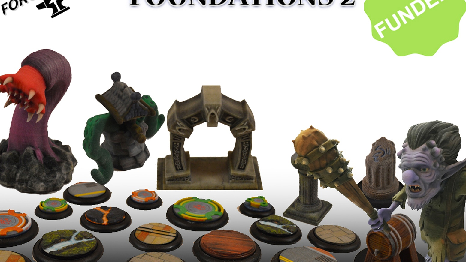 Full color 3D printed table top gaming bases, accessories, battle field markers, creatures, and collectibles.