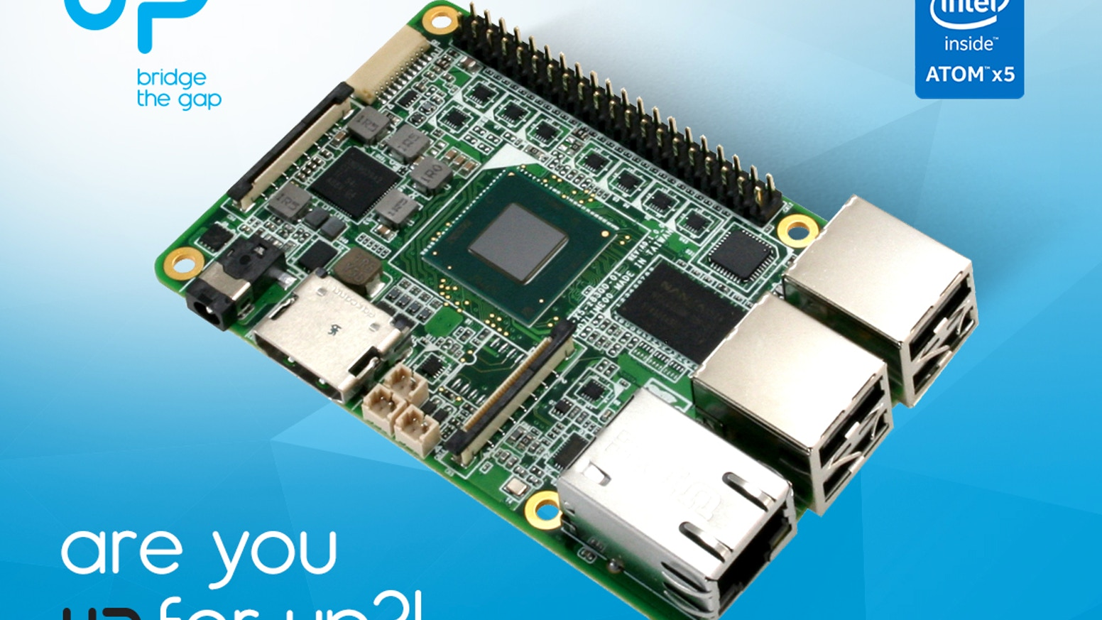 UP - Intel x5-Z8300 board in a Raspberry Pi2 form factor by