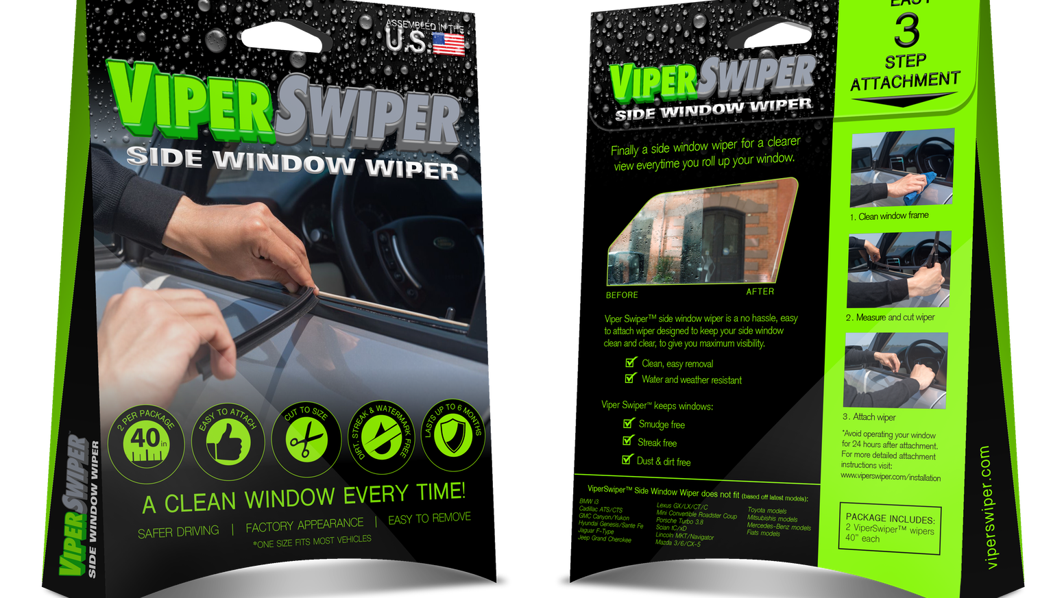 Viperswiper™ is a no hassle, easy to attach wiper, designed to keep your side window view clear every time you roll up your window.