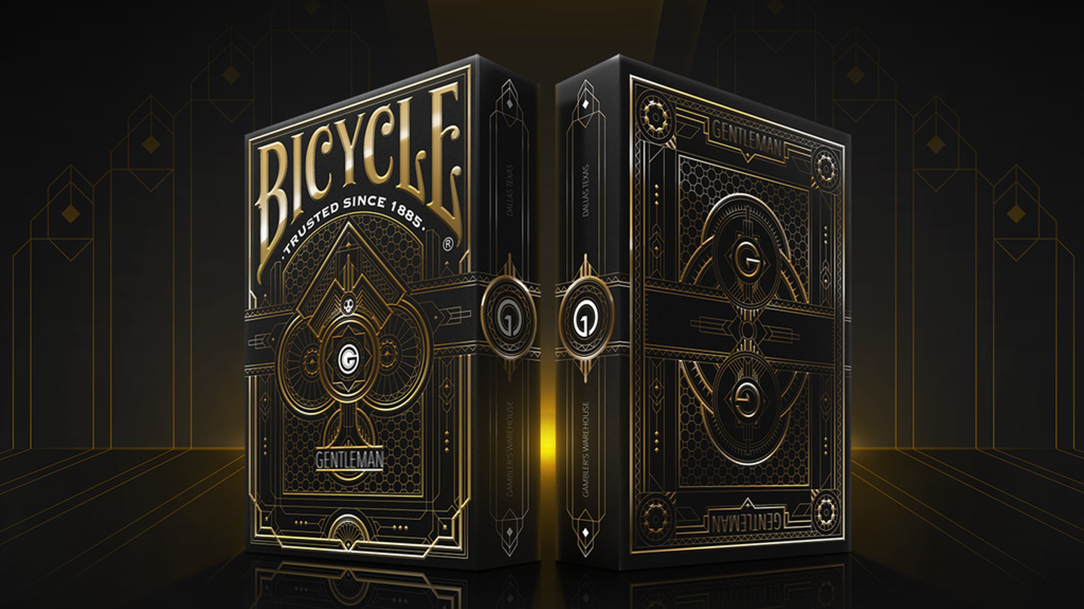 Stunning Art-Deco inspired custom playing cards from Blackout Brother. Decks to be foiled and embossed with inner tuck design.