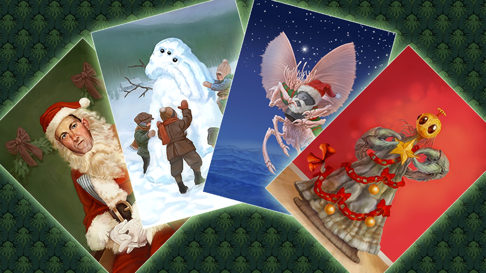 Put a little more cosmic horror in your holidays with these 4 Lovecraft inspired Christmas cards. If you missed out on the cards, they will be available the link below after all the rewards have been sent out.