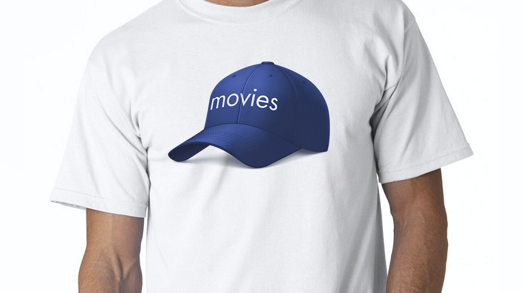 """A shirt that has """"a hat that says 'movies' on it"""" on it. project video thumbnail"""