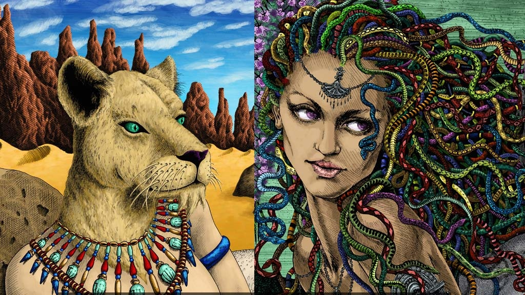 Project image for Medusa and Bastet limited edition fine art prints