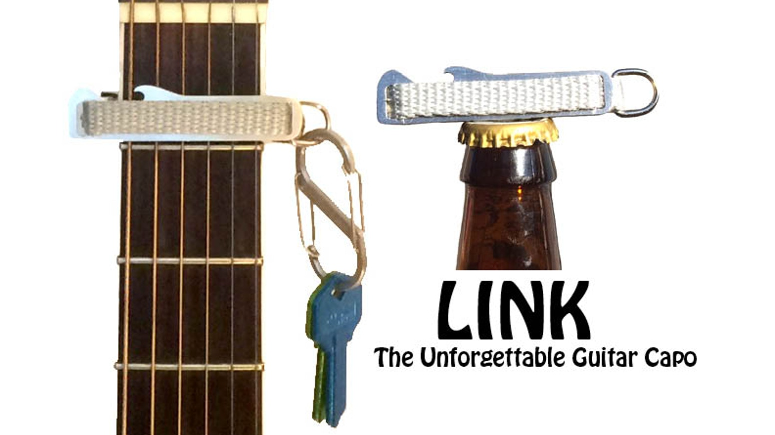 LINK The Unforgettable Guitar Capo. Simply attach it to your key ring, guitar strap or gig bag zipper.