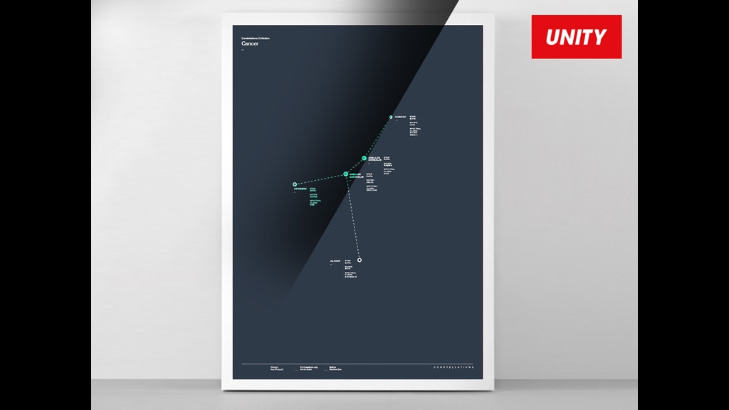Unity Line Art Map : Star constellations of space luminous screen prints by