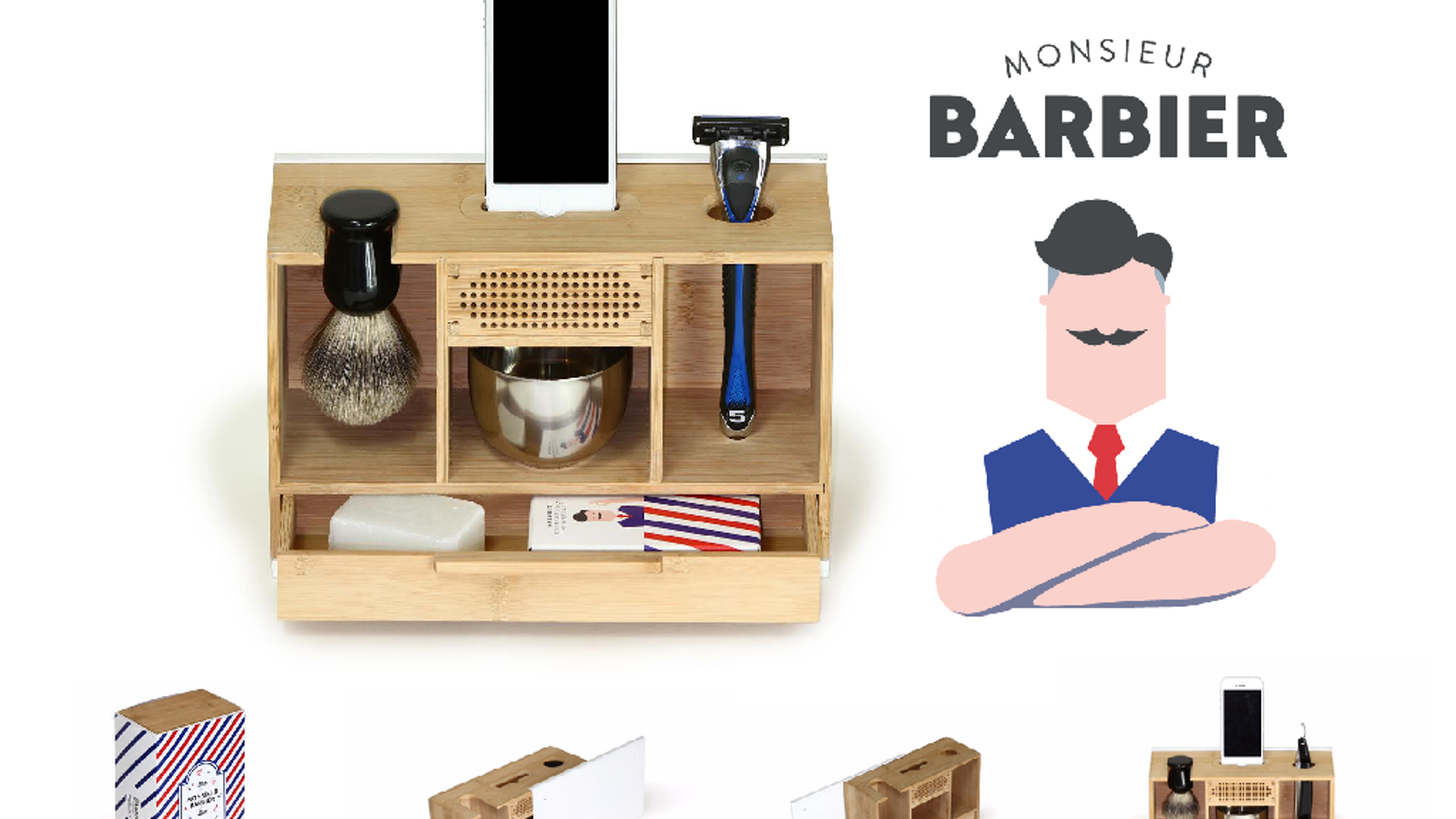 Made in Paris, beautifully designed. Our shaving stand redefines your morning routine, with music, style, and a French barber touch!