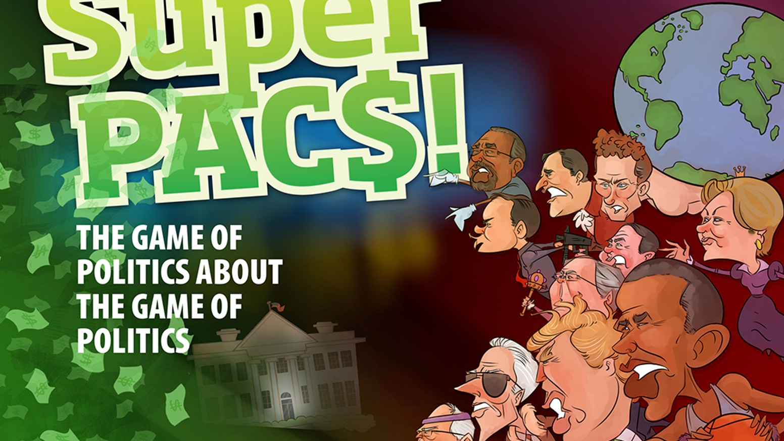 A satirical card game with twisted political cartoons. Exploit your coalition of factions and superpacs to win elections & money.