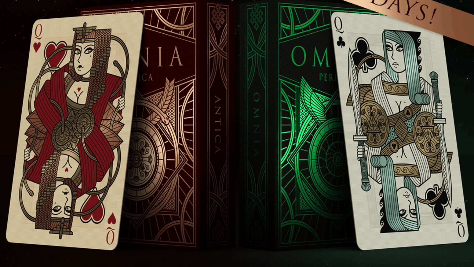 Custom poker size playing cards. Inspired by ancient symbology, drawn with a sharp and modern style, printed by EPCC.