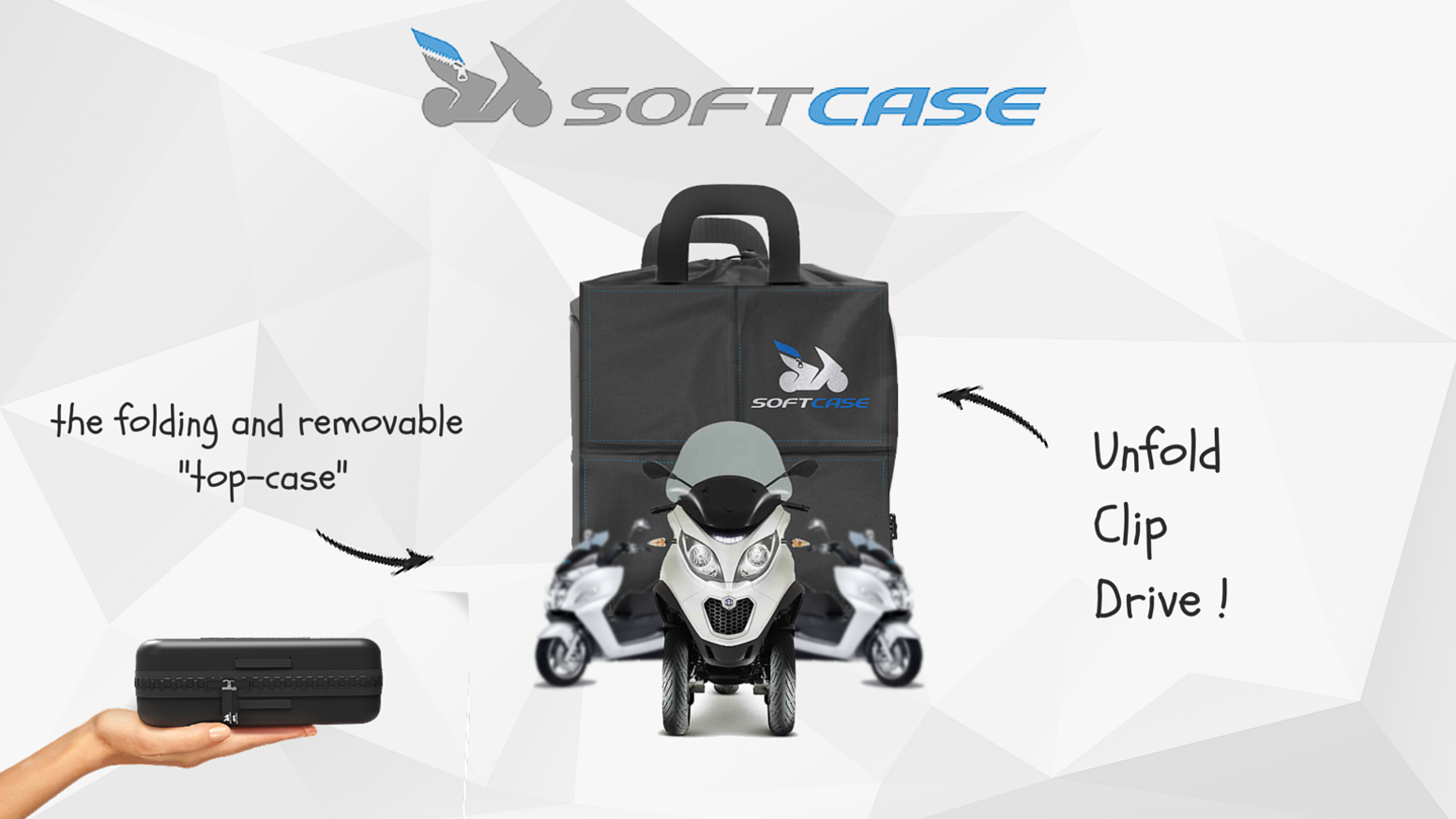 The top case that will change your way to travel by scooter. Unfold, clip, drive ! Everything is simpler with Softcase.