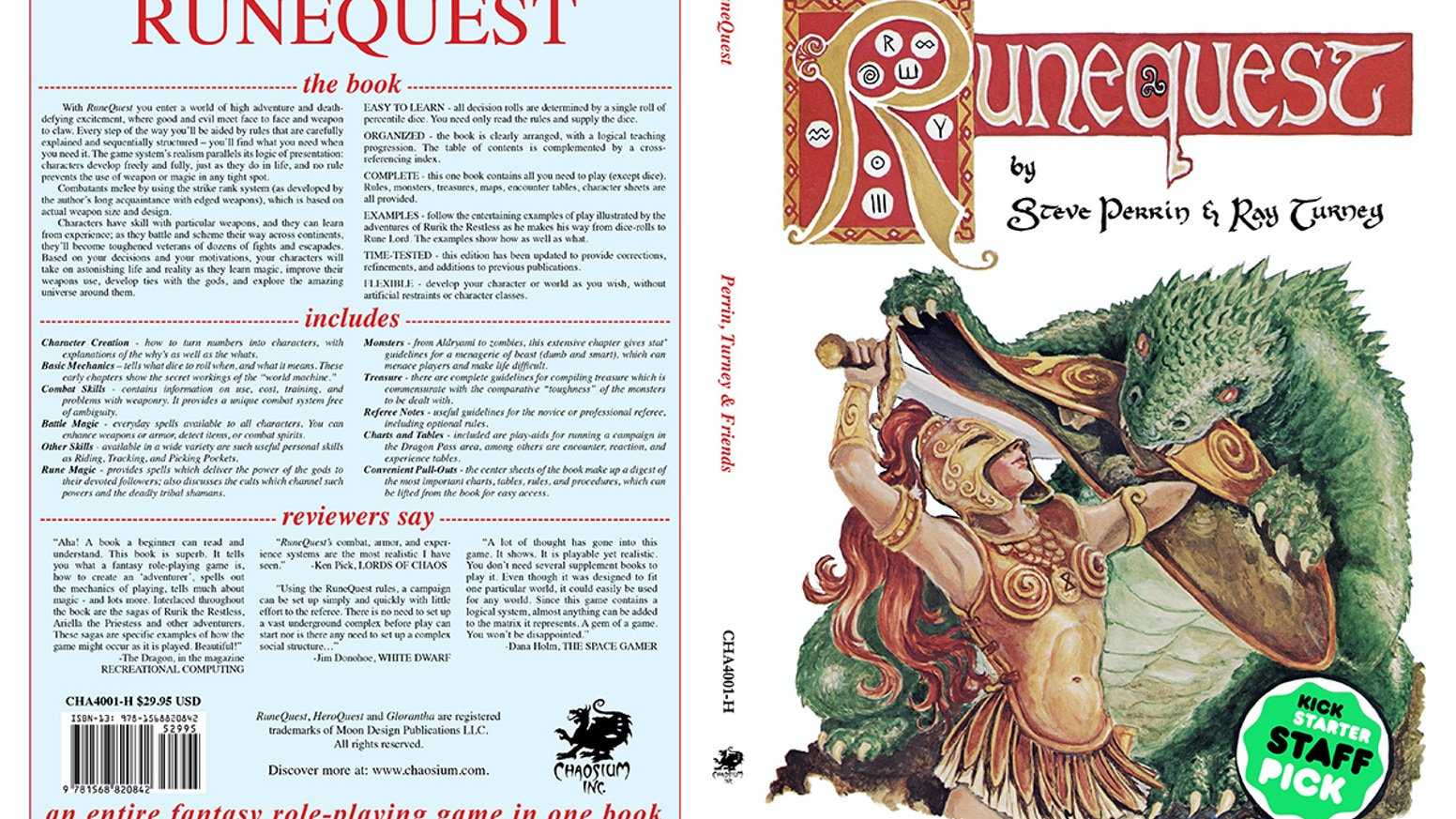 Bringing the iconic RuneQuest 2nd edition rulebook back into print to kick-off the 50th Anniversary of Glorantha celebrations in 2016.