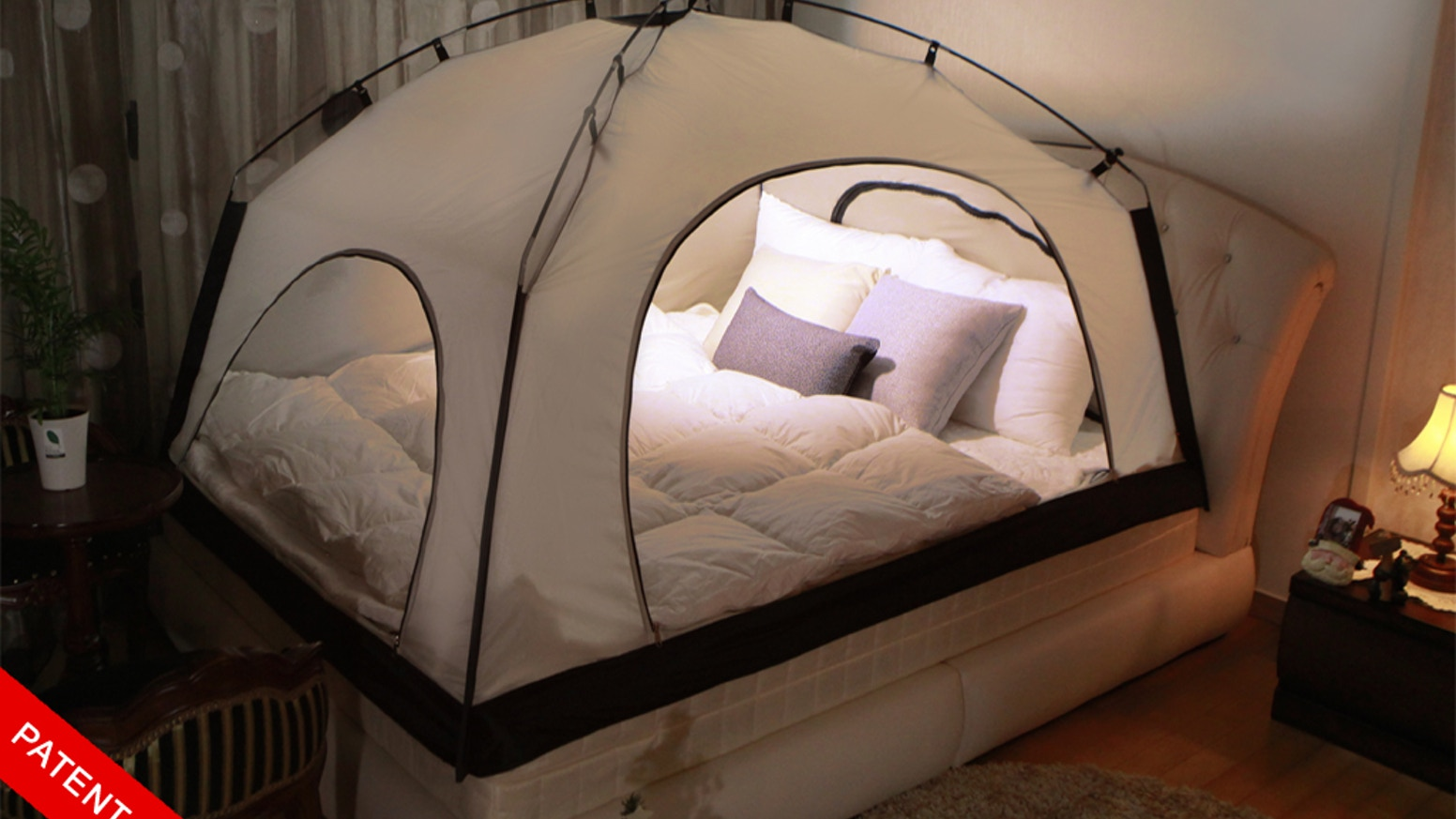 Cozy, all-in-one bed tent that makes your winter warmer without overpriced gas bill- integrated lap top stand and phone theater inside.