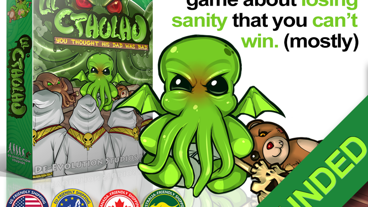 A card game for 2-5 players where you, Cultists of Cthulhu, backstab each other to appease Lil' Cthulhu before going insane first.