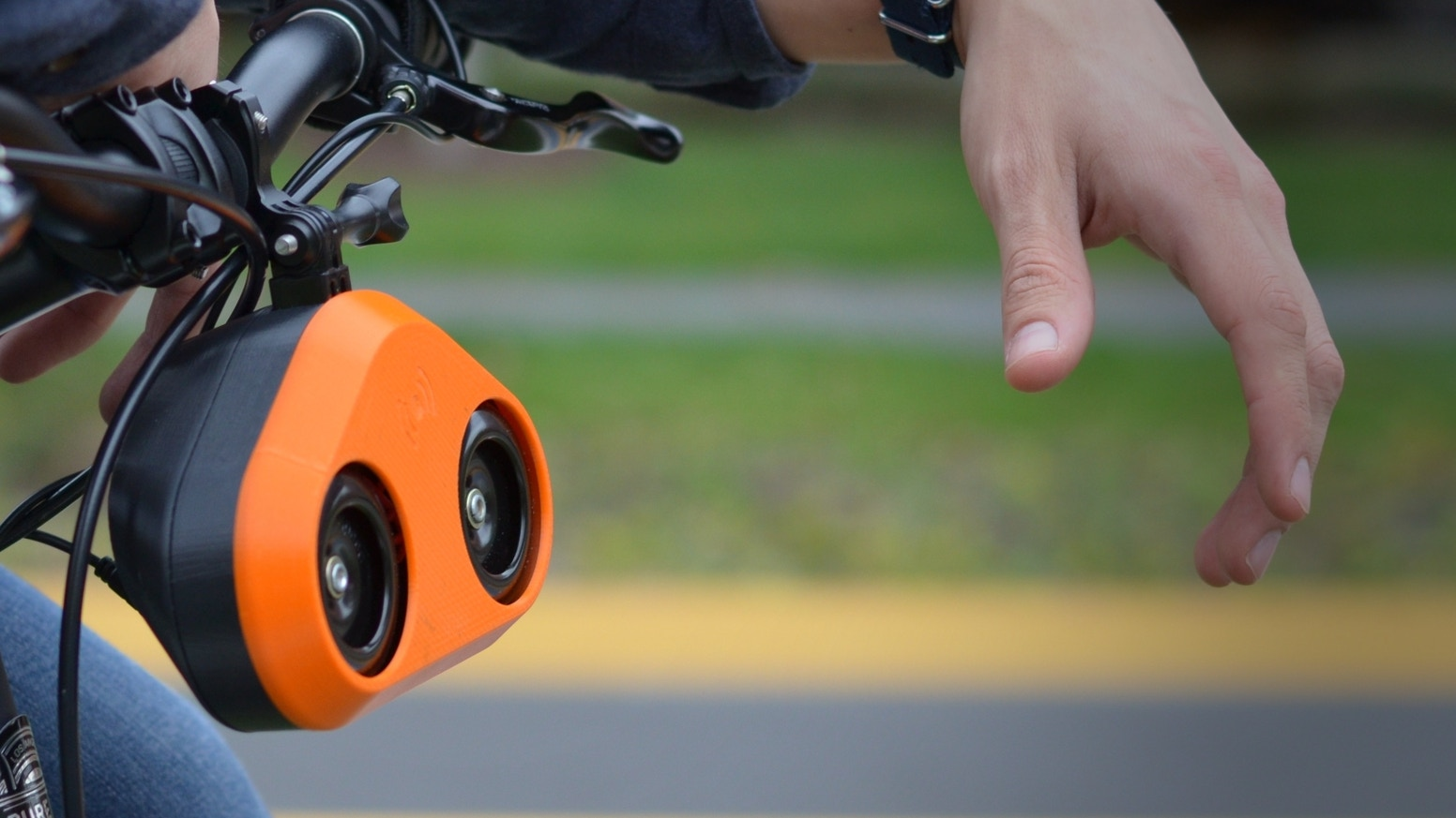 Make your ride safe with a bike horn that sounds like a car horn.
