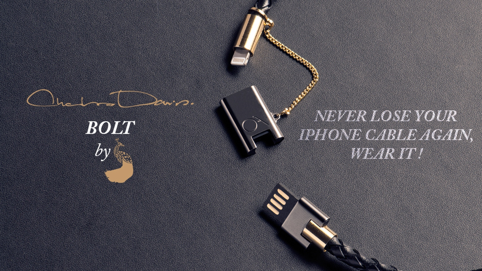 BOLT is a wearable bracelet made for iPhone, iPad & iPod, crafted of genuine leather designed to SYNC & CHARGE your devices in style! Approx. L: 430mm