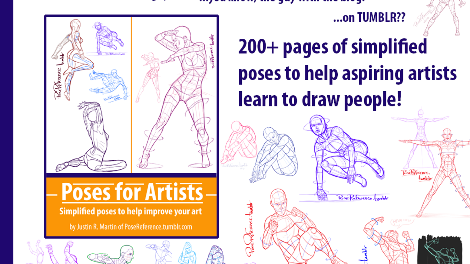 Poses for Artists: 200 pages of Poses Art Book by Justin
