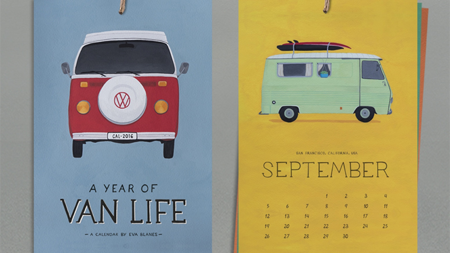 A 2016 calendar with 12 vans that I found on the road. All gouache painting by Eva Blanes.