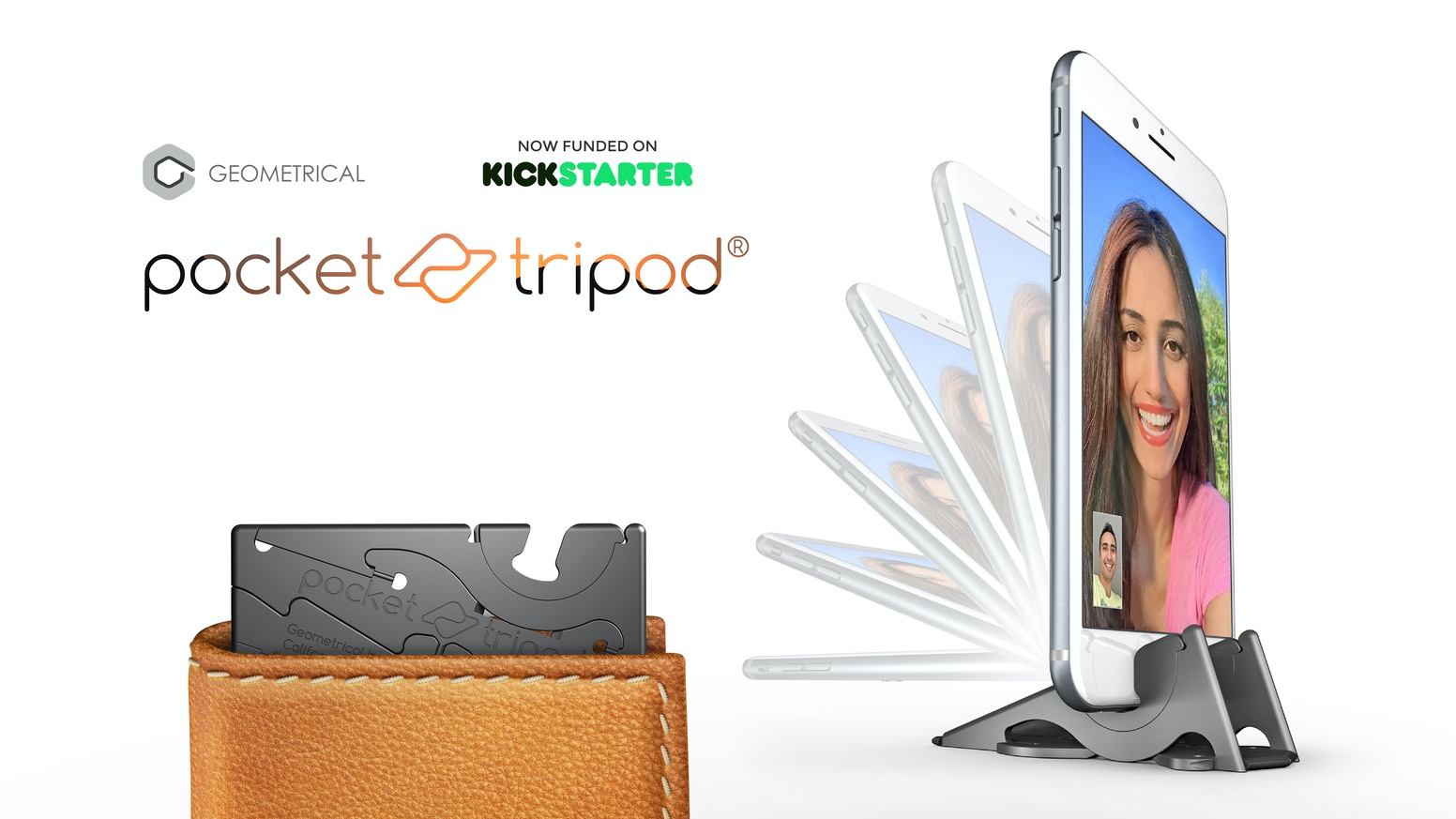 A tripod that works with Android and iPhone cases. The Pocket Tripod is a card-size tripod for your phone that can adjust to any angle.