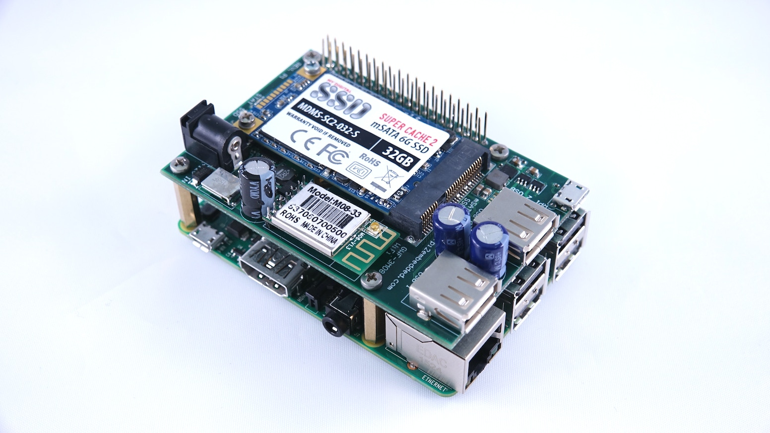 SSD, WiFi, RTC w/Battery and high power USB all in one shield.