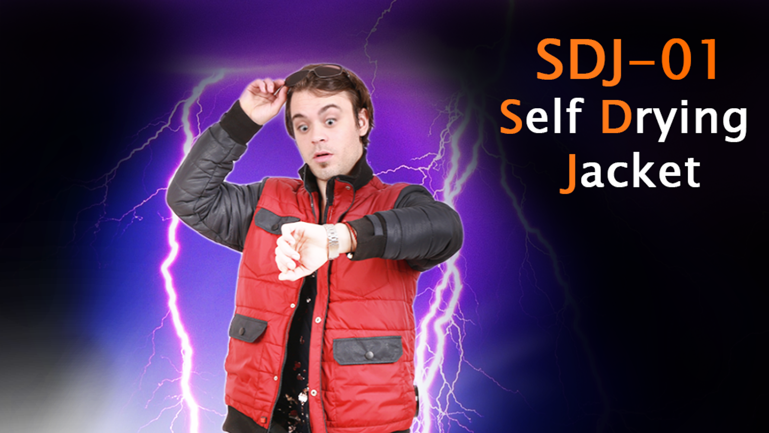 """""""Back to the Future"""" inspired self-drying jackets are reality in 2015. Updated design includes interior smartphone and tablet pockets."""