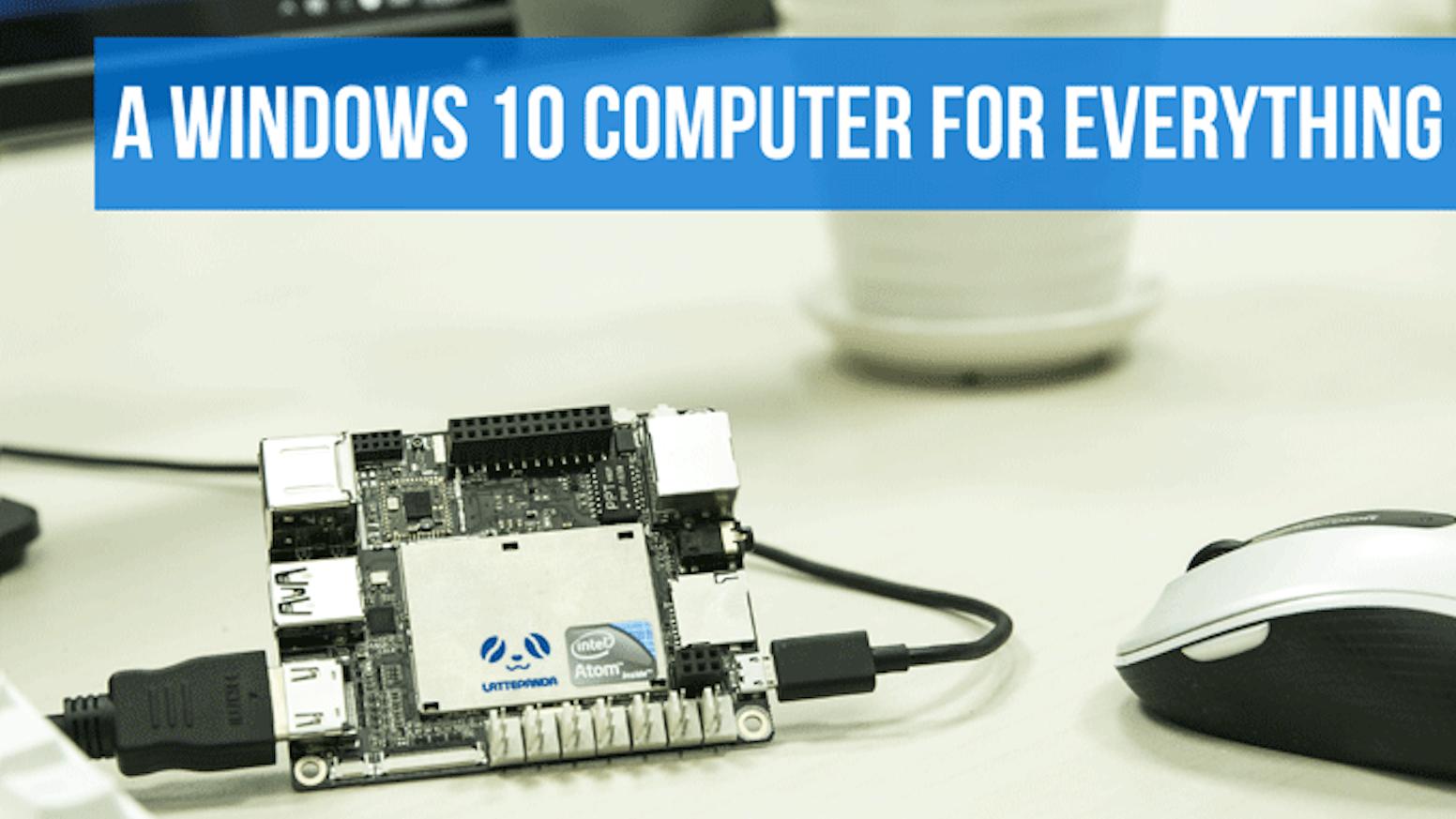 LattePanda features a quad-core 1.8Ghz processor, 2/4GB RAM, 32/64GB eMMC, WiFi, Bluetooth 4.0, USB 3.0 and an onboard Arduino!
