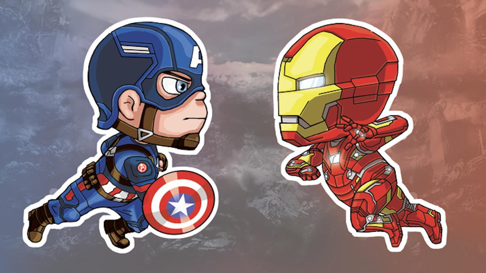 captain america vs iron man stickers by la nonna kickstarter