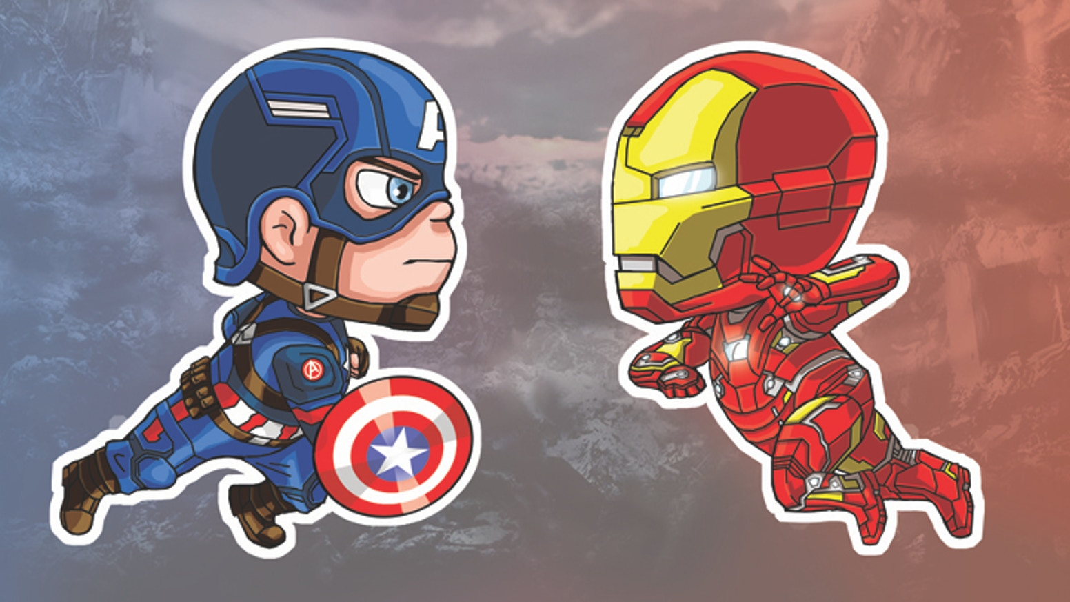 Captain america vs iron man stickers