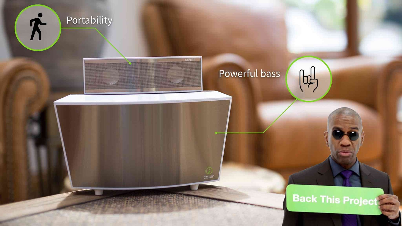 Two-piece speaker system combines detachable mini Sound Bar and powerful ported subwoofer Bass Station with wireless charging