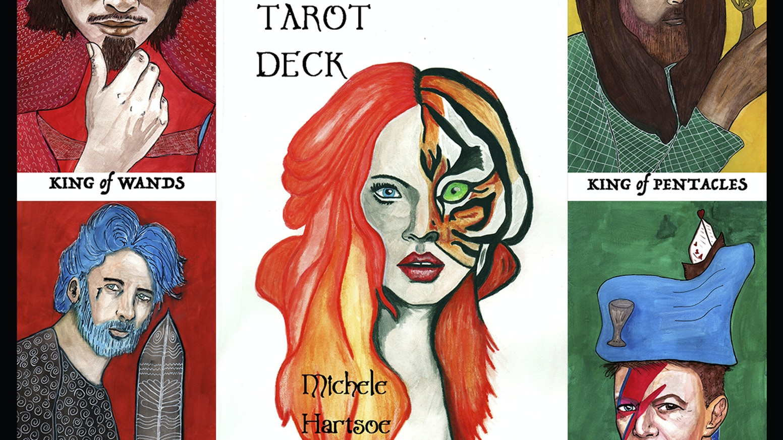 A Character Driven Illustrated Tarot Deck with all original watercolor paintings from Michele Grey Hartsoe.
