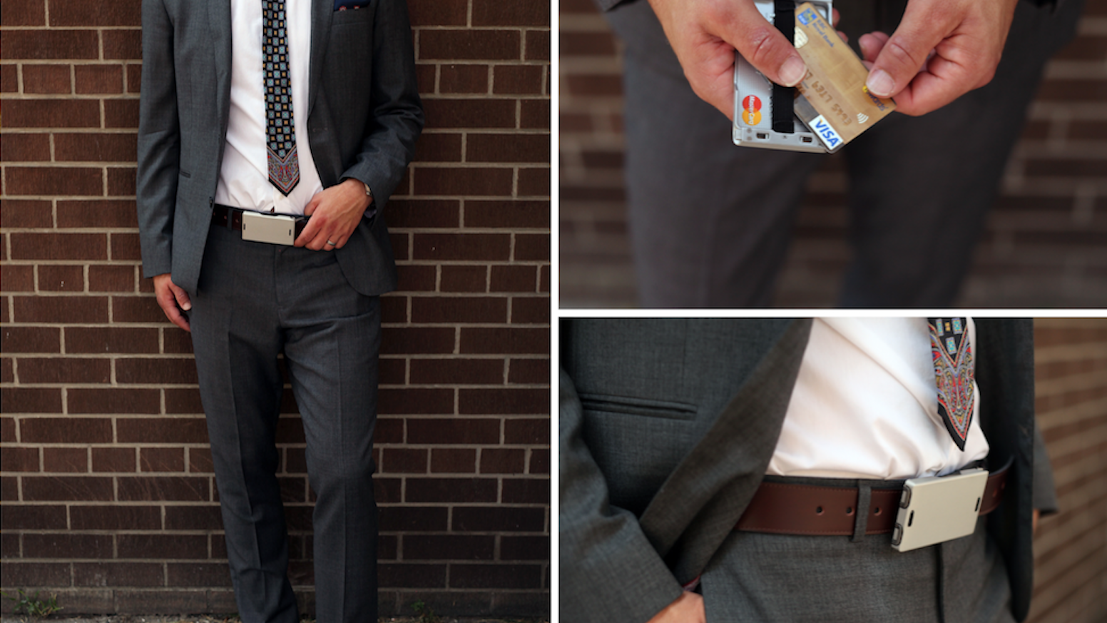 A comfortable and sleek wallet that attaches to your belt. An innovative latching buckle. End bulky wallets and bulging pockets.