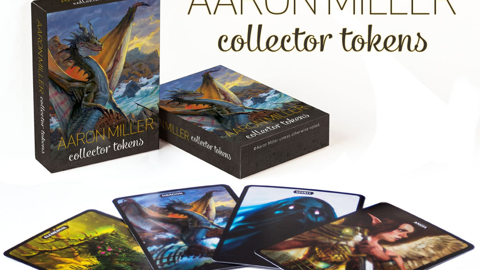 Beautiful pack of Collector Tokens featuring the art of MtG artist Aaron Miller. Over 50 tokens and other goodies.
