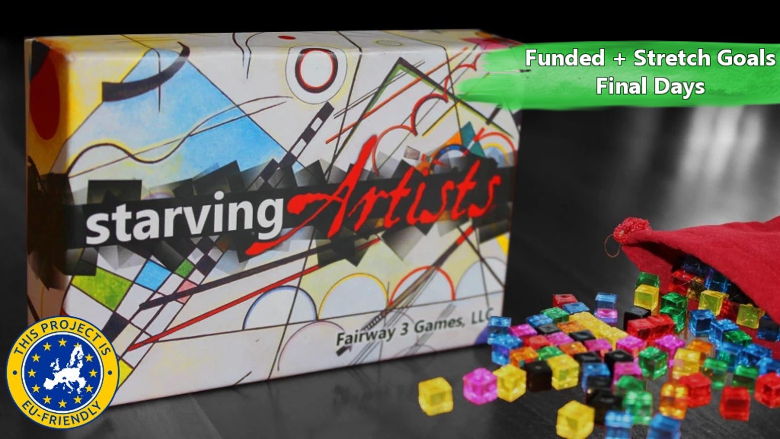 Starving Artists is an award-winning, paint-by-cube game with more than 90 beautiful works of art and 150 transparent cubes.