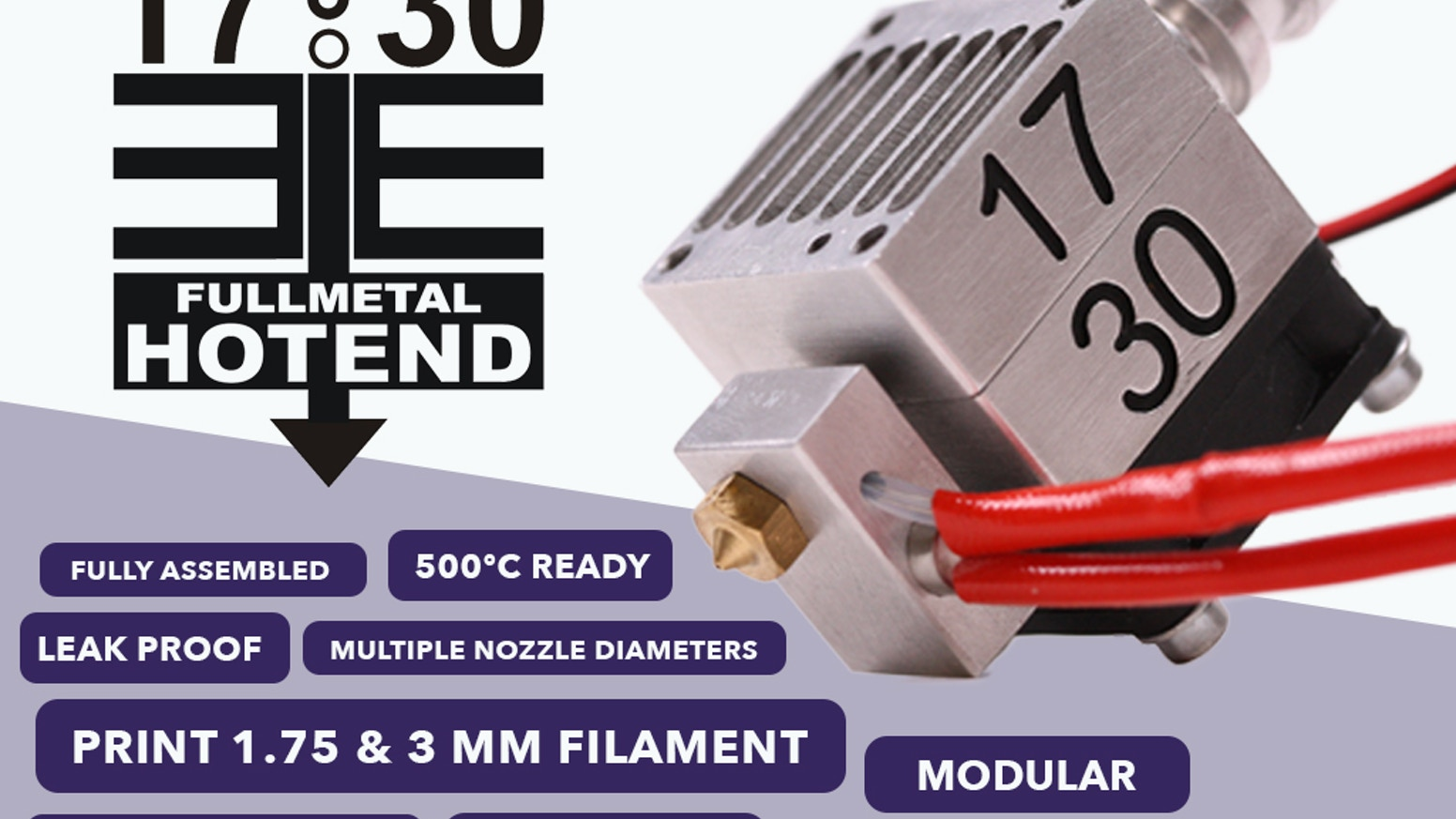 Innovative modular Full Metal Hotend capable of printing 1.75 & 3 mm filament. Leak proof & optimized for High Performance 3D-Printing.