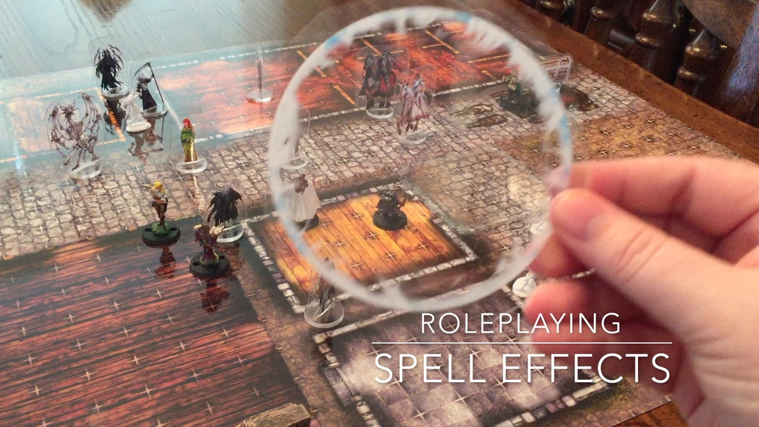 Semi-Transparent spell graphics printed on clear plastic to create fantastic overlays for Tabletop Roleplaying Games.