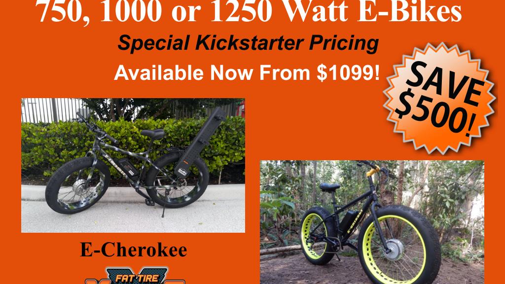Front Wheel Fat E-Bike 750, 1000 or 1250 Watt from $1099 by