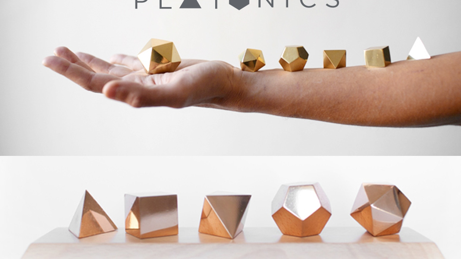 New Platonic Solids cast in brass and bronze. The five solids that shape the world. 2500 years of history in the palm of your hand.