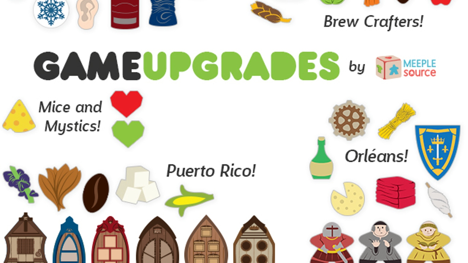 Premium upgrade kits for Orléans, Puerto Rico, Dead of Winter, Targi, Mice & Mystics, Glass Road, Arkham Horror, Brew Crafters, & more!