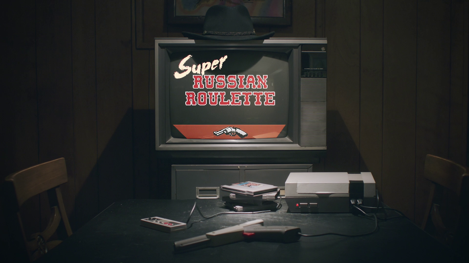 Super Russian Roulette is a new party game for the NES that pits you and up to two friends against a fully voiced trash-talking cowboy.