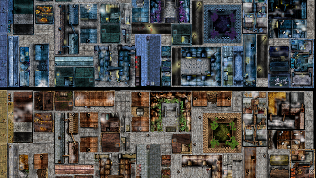All-in-one highly-detailed rooftop/alley double-sided tiles in assorted sizes with day & night scenes on professional quality boards.
