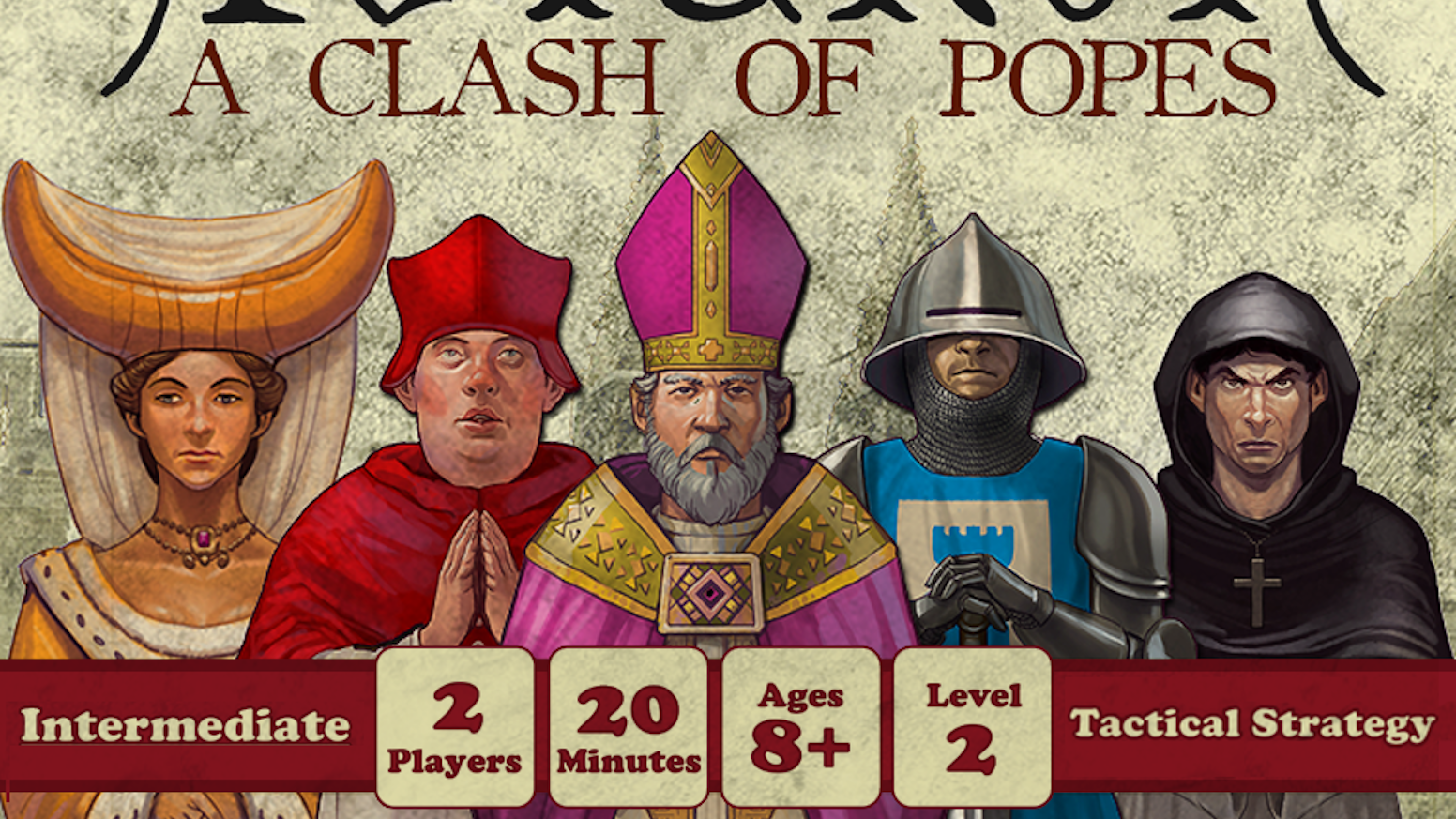 A pocket sized game of papal influence for two players. Designed by John du Bois with illustrations by Fabrice Weiss. If you missed out, pre-order below.