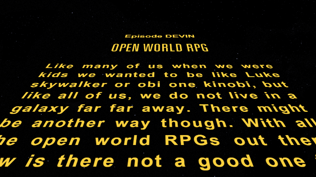 "Project image for Open World RPG ""like"" Star Wars Game (Canceled)"