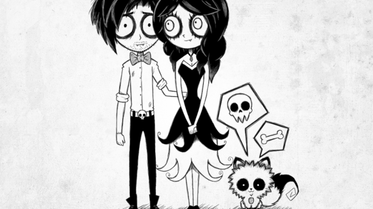 Get a custom family portrait tim burton style and some creepy puppy stickers