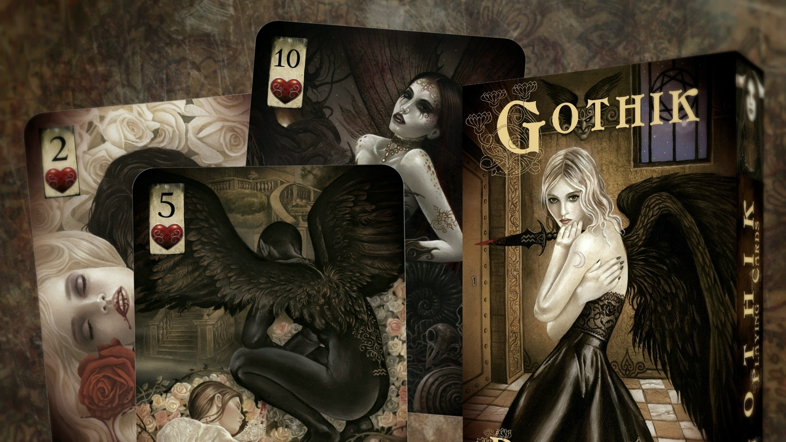 A lavish hand-painted gothic themed deck of playing cards, featuring beautiful artwork of Vampires, Dark Angels and Night Creatures.